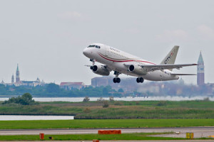 First CityJet SSJ100 takes off from Venice to Dublin