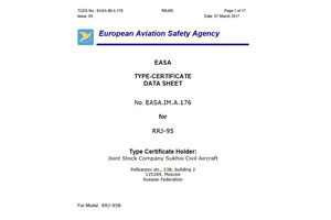 New SSJ100 Model Certified by EASA: Base Take-Off Weight with Increased Engine Thrust